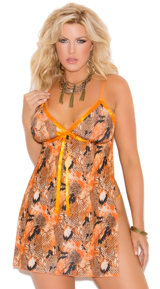 Plus Size Snake Print Halter Style Babydoll and G-String