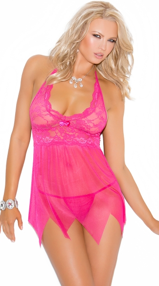 Pink Lace and Mesh Halter Chemise