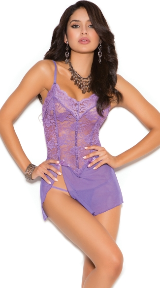 Delicate Purple Lace Chemise, Violet Sexy Sheer Nightie, V Neck Purple Lingerie
