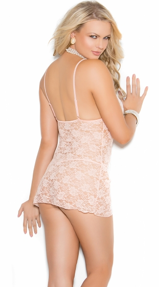 Plus Size Sexy Nude Chemise Set