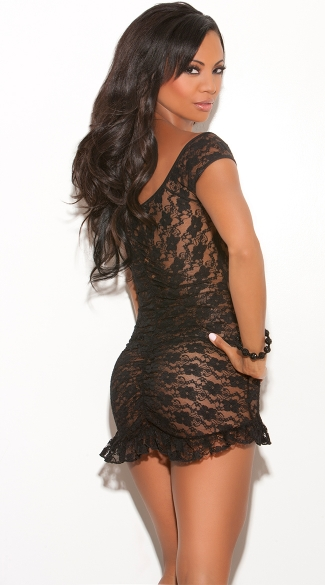 Black Lace Chemise Set