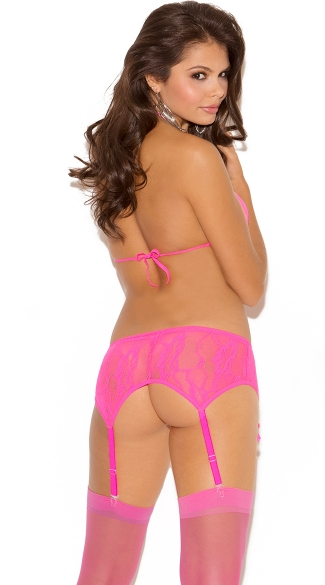 Stretch Lace Halter Bra, Garter Belt and G-String Set