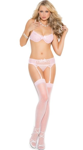 Secretly Pink Bra Garter and Panty Set, Sexy Bra Set, Pink Lingerie Set