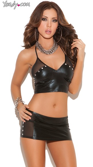 Wet Look Halter Cami Set