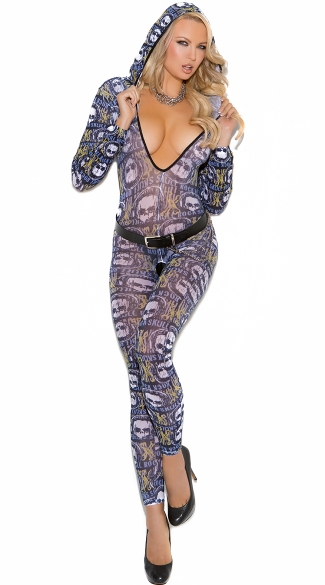 Hooded Skull Bodystocking, Skull Print Body Stocking