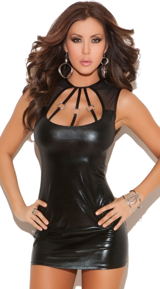 Wet Look Mini Dress with O Ring Straps