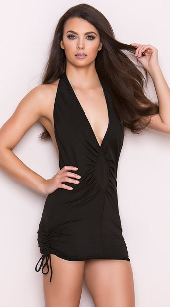 Deep V Halter Mini Dress, Sexy Black Mini Dress, Hot Scrunch Side Mini Dress