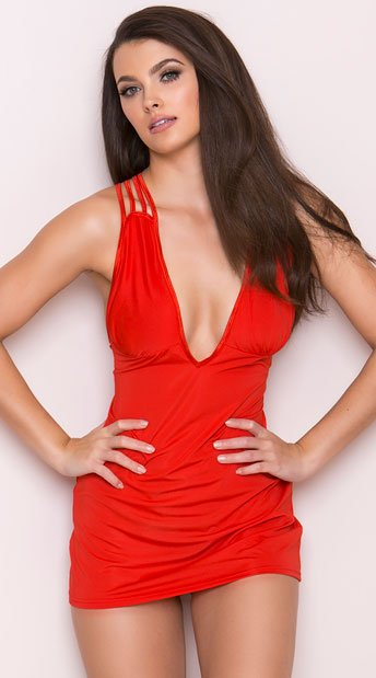 Triple Criss Cross Mini Dress, Bright Red Mini Dress, Sexy Mini Dress