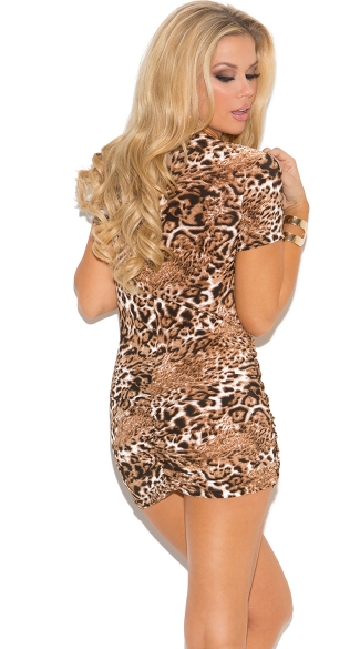 Leopard Print Low Cut Mini Dress