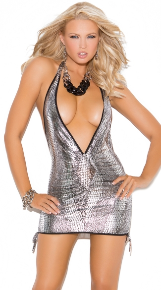 Deep-V Snake Print Mini Dress with Side Scrunch