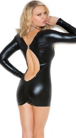 Secrets in the Night Long Sleeve Wet Look Dress