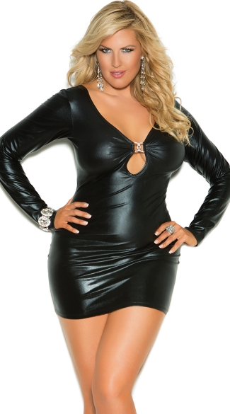 Plus Size Secrets in the Night Long Sleeve Wet Look Dress, Plus Size Sexy Mini Dress with Cut Outs, Plus Size Short Long Sleeve Black Club Dress