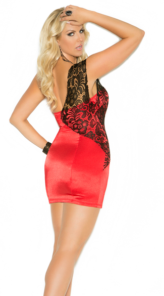 Plus Size One Shoulder Satin and Lace Mini Dress