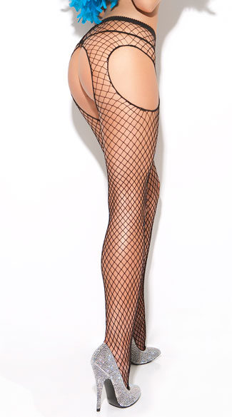 Diamond Net Suspender Pantyhose, Fishnet Suspender Pantyhose