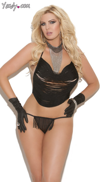 Plus Size Fringe Cami Top And G String