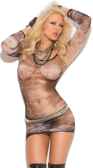 Tye Dye Fishnet Mini Dress