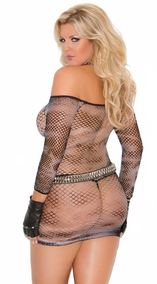 Plus Size Tye Dye Fishnet Mini Dress