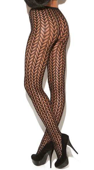 Black Feather Pantyhose, Seamless Pantyhose, Pattern Tights