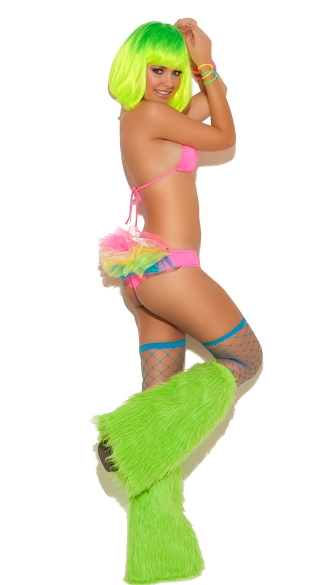 Neon Nites Bra Top with Tutu Panty, Neon Dancewear, Hot Pink Bra Top and Rainbow Tutu Panty