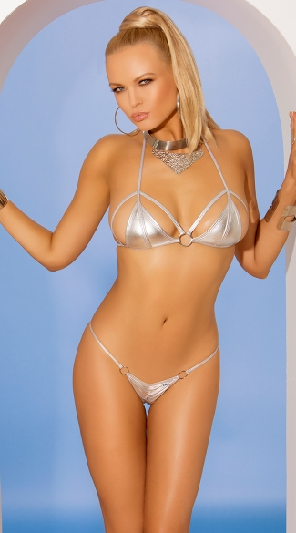 Metallic Silver Strap Bra and Panty Set, Metallic Lingerie Bikini