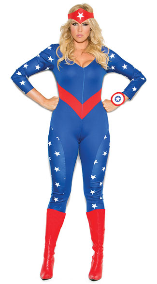 Plus Size Cute American Hero Costume, Plus Size Sexy American Costume, Plus Size Sexy Superhero Costume