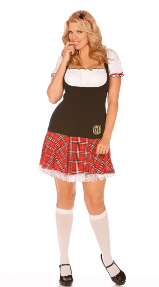 Plus Size Frisky Freshman Costume, Plus Size Black and Red School Girl Costume, Schoolgirl Plus Costume