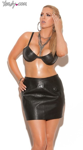 Plus Size Underwire Leather Bra with Adjustable Straps