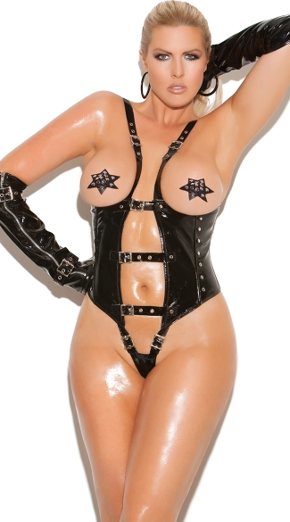 Plus Size Seductress Black Cupless Teddy, Plus Size Open Cup Vinyl Bodysuit, Plus Size Sexy Leather Onesies