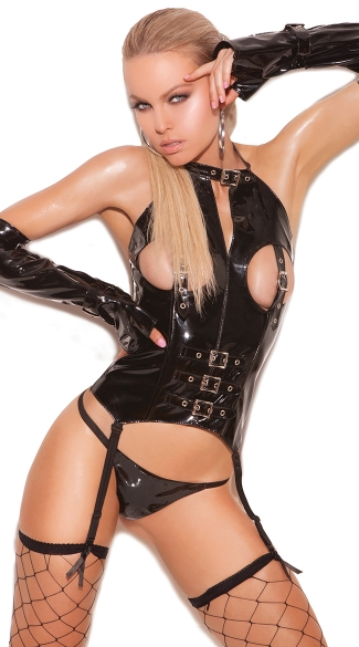 Naughty Dreams Vinyl Bustier, Black Leather Open Cup Lingerie, Sexy Pleather Bustier Tops