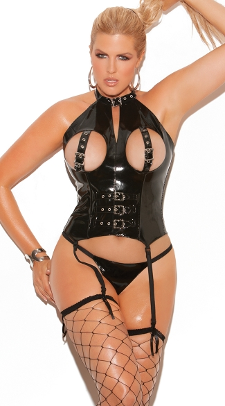 Plus Size Naughty Dreams Vinyl Bustier, Plus Size Black Leather Open Cup Lingerie, Plus Size Sexy Pleather Bustier Tops