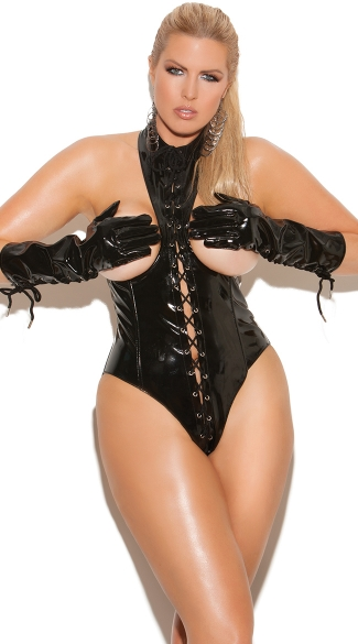 Plus Size Cupless Lace-Up Teddy, Plus Size Black Leather Open Cup Bodysuit, Plus Size Sexy Pleather Onesie