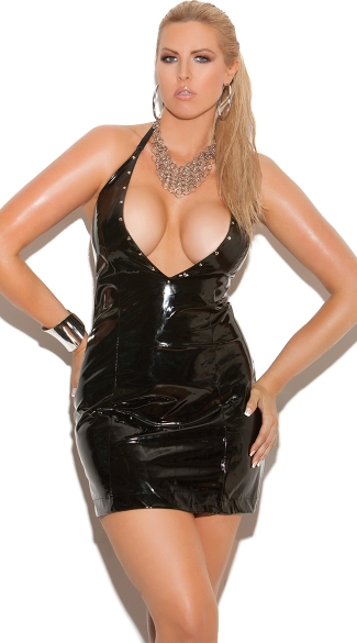 Plus Size Deep V Vinyl Halter Dress