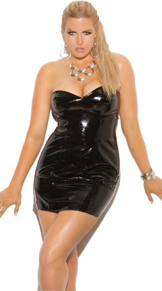 Plus Size Wet Look Strapless Open Back Chemise Dress