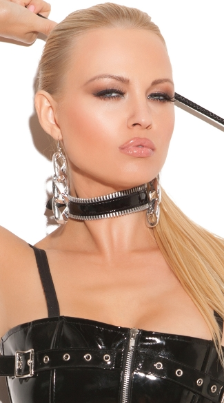 Zipper Vinyl Choker, Lingerie Choker Collars, Black Vinyl Collar with Zipper