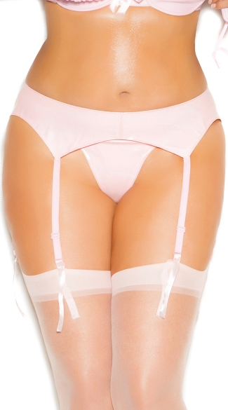 Plus Size Anything But Basic Pink Vinyl Garter Belt