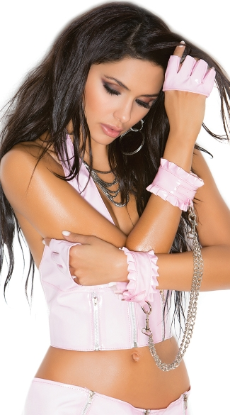 Ruffled Pink Vinyl Chained Wrist Restraints, Naughty Lingerie Wrist Cuffs, Vinyl Cuffs with Chains