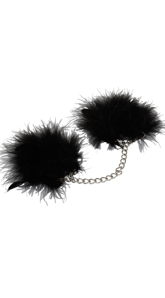 Marabou Lined Wrist Cuffs, Za Za Zu Feather Cuffs, Adult Handcuff, BDSM Handcuffs