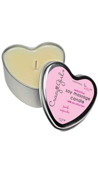 Soy Massage Heart Cupcake Candle, Crazy Girl Wanna Be Wild Soy Massage Heart Candle Cupcake, Massage Candle