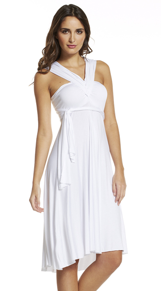 Convertible White Summer Dress, White Halter Dress, White Strapless Dress