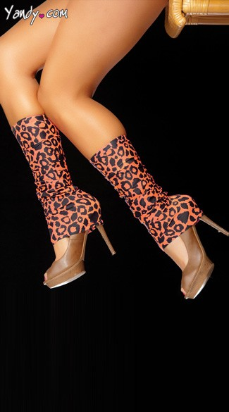 Leopard print leg warmers with claw feature. Acrylic faux fur, faux leather. One size fits most. Made in USA.