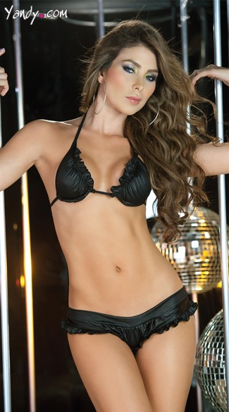 Ruffle Tri Top and Panty, Black Triangle Bra and Thong