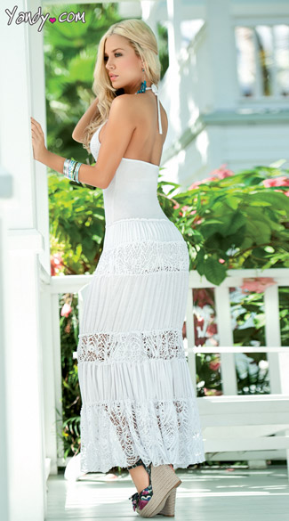 Long Halter Summer Dress With Crepe Skirt