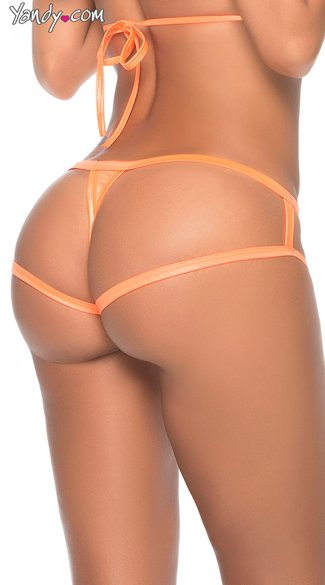 Wet Look Cage Back Thong Panty