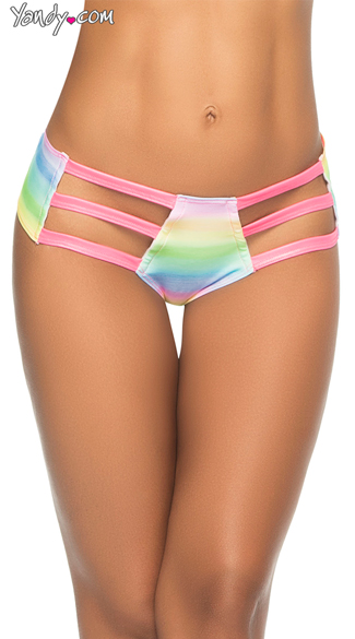 Printed Triple Strap Hipster Panty, Neon Thong Hipster, Strappy Glow Panty