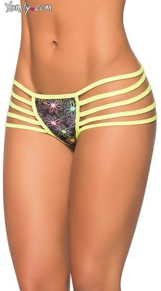 Multi-Strap Hipster Glow Panty, Sexy Printed Panty, Strappy Thong Panty