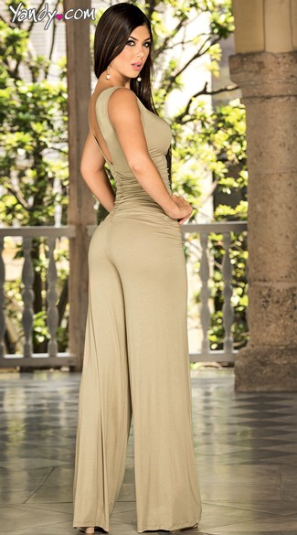Deep V-Plunge Ruched Jumpsuit