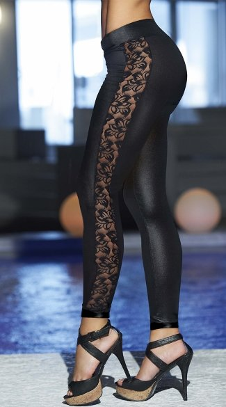 Wet Look and Lace Leggings