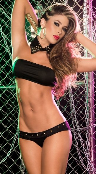 Studded Tuxedo Bra and Panty Set