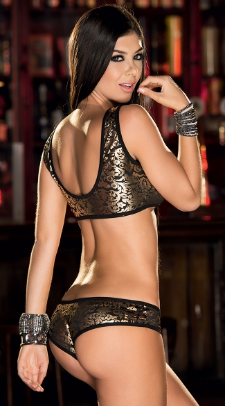 Gold Filigree Bra and Panty