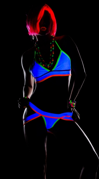 Neon Strappy Halter Top and Panty